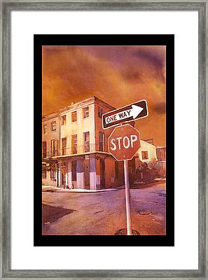 Stop- French Quarter Ahead Framed Print