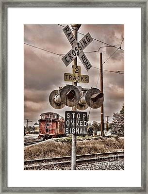Stop On Red Signal Framed Print by Peggy Hughes