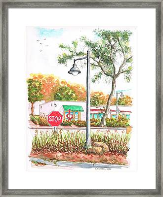 Stop Sign And Street Light In Montecito, California Framed Print