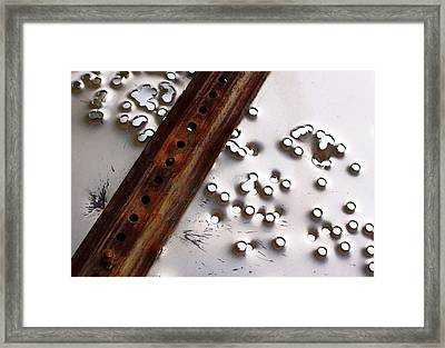 Stop Sign Bullet Holes Framed Print by Adam Pender
