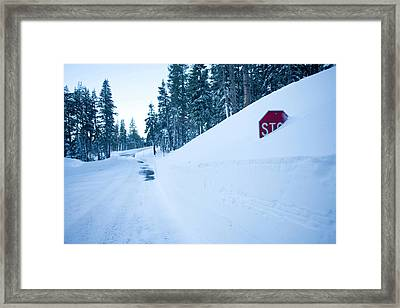 Stop Sign Buried In Snow At Kirkwood Framed Print
