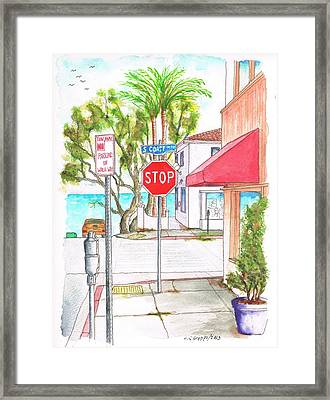 Stop Sign In Laguna Beach - California Framed Print