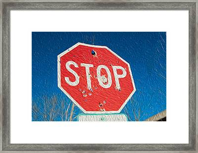 Stop With Bullet Holes. Framed Print