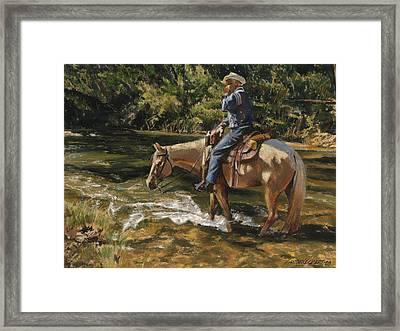 Man On Horse Cooling Feet Framed Print by Don  Langeneckert