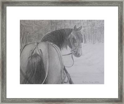 Stopping In A Snowy Wood Framed Print by Heather Perez