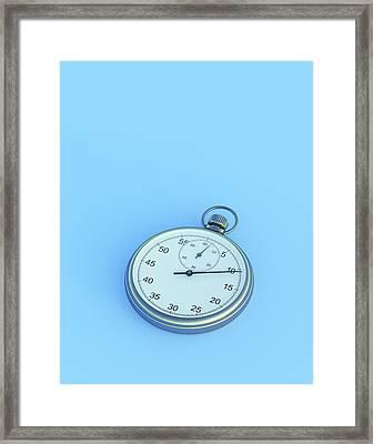 Stopwatch On Blue Background Framed Print