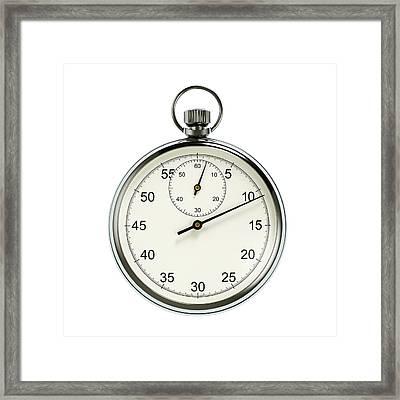 Stopwatch On White Background Framed Print by David Parker