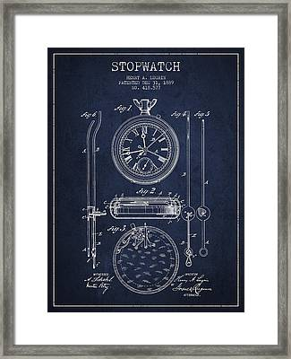 Stopwatch Patent Drawing From 1889 Framed Print by Aged Pixel
