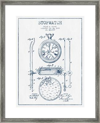 Stopwatch Patent Drawing From 1889 - Blue Ink Framed Print