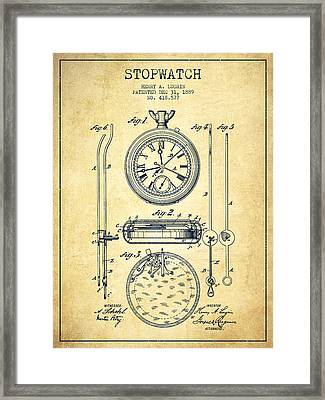 Stopwatch Patent Drawing From 1889 -vintage Framed Print by Aged Pixel