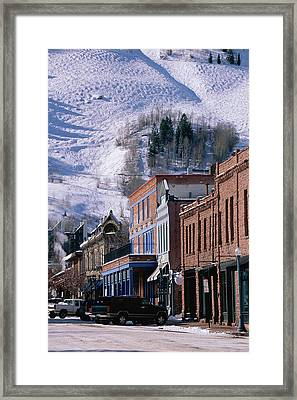 Storefronts, Aspen, Colorado Framed Print