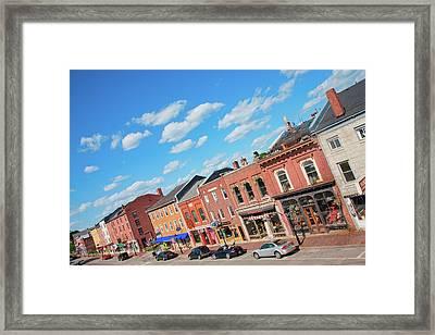 Storefronts Line Water Street Framed Print