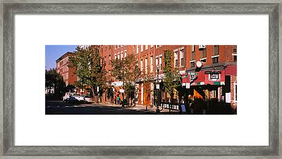 Stores Along A Street, North End Framed Print by Panoramic Images