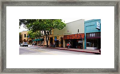Stores At The Roadside, Downtown San Framed Print
