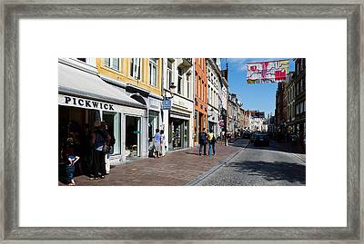 Stores In A Street, Bruges, West Framed Print by Panoramic Images
