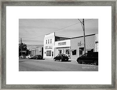 stores on first avenue the town of leader sk Canada Framed Print by Joe Fox