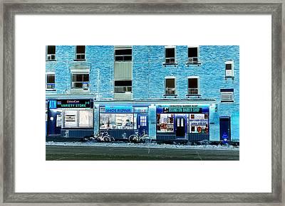 Stores On Ossington In Blue Framed Print