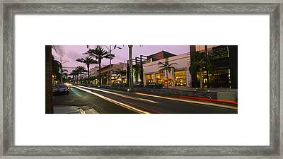 Stores On The Roadside, Rodeo Drive Framed Print by Panoramic Images