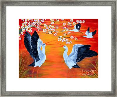 Storks And Cherry Blossom Framed Print