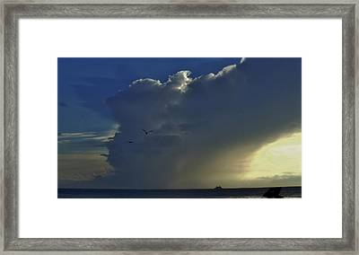 Framed Print featuring the photograph Storm Across Delaware Bay by Ed Sweeney
