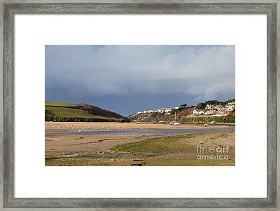 Storm Approaches The Gannel Estuary Newquay Cornwall Framed Print
