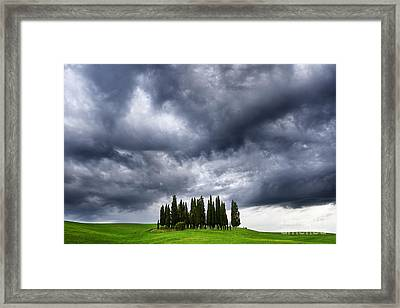 Storm Approcing The Tuscan Countryside Framed Print