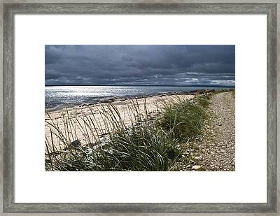 Framed Print featuring the photograph Storm Arising Dornoch Beach Scotland by Sally Ross