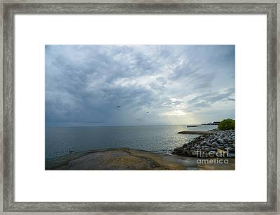 Storm At Big Mouth Framed Print by Russell Christie