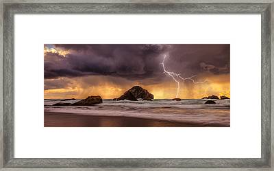 Storm At Face Rock Framed Print by Darren  White