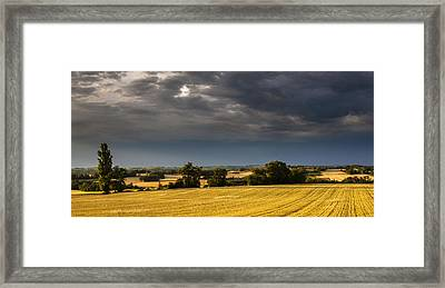 Storm Brewing Over Corn Framed Print by Matthew Bruce