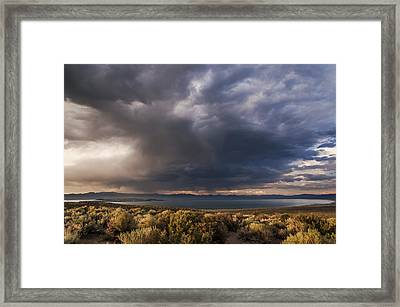 Storm Cell Over Mono Lake Framed Print by Cat Connor