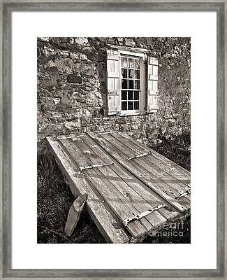 Storm Cellar And Window Framed Print