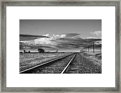 Storm Cloud Above Rail Road Tracks Framed Print
