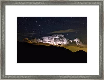 Storm Cloud Looms Over The Mummy Range Framed Print by Keith Ladzinski