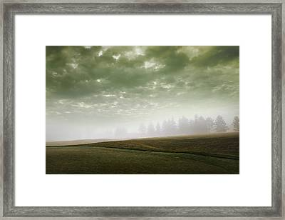Storm Clouds And Foggy Hills Framed Print by Vast Photography