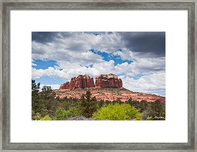 Framed Print featuring the photograph Storm Clouds Over Cathedral Rocks by Jeff Goulden