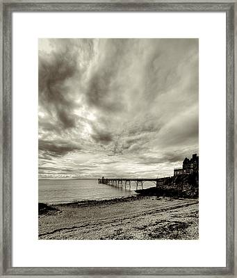 Storm Clouds Over Clevedon Pier Framed Print by Rachel Down