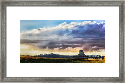 Framed Print featuring the photograph Storm Clouds Over Devils Tower by Sophie Doell