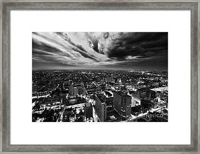 Storm Clouds Over North Philadelphia Black And W Framed Print by Ultra Violet Photography