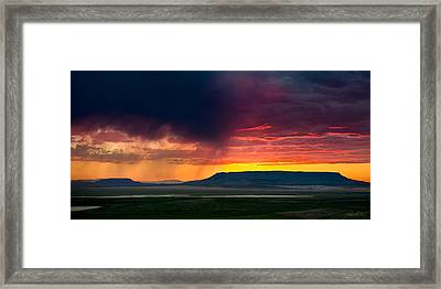 Storm Clouds Over Square Butte Framed Print by Renee Sullivan
