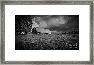 Storm Clouds Over The Farm Framed Print by Edward Fielding