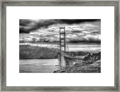 Storm Clouds Over The Golden Gate Bridge Framed Print