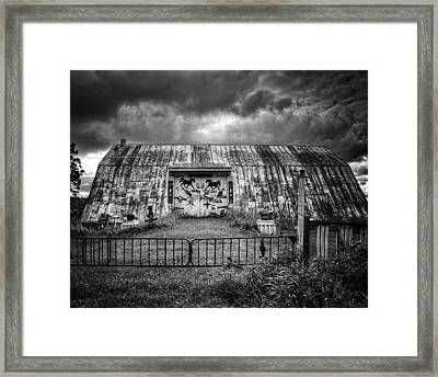 Storm Coming In On The Farm Framed Print by Thomas Young