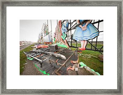 Storm Damage To Blackpool Illuminations Framed Print by Ashley Cooper