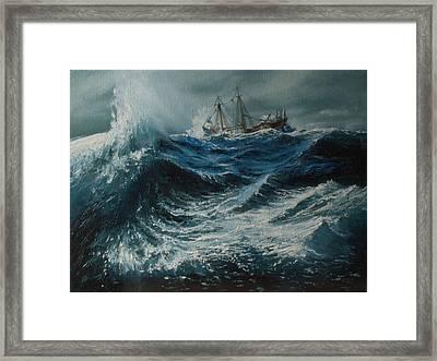 Storm In The Sea Framed Print by Shobita Sreekumar