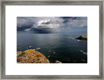 A Mediterranean Sea View From Sa Mesquida In Minorca Island - Storm Is Coming To Island Shore Framed Print