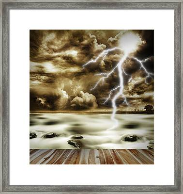 Storm Framed Print by Les Cunliffe