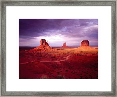 Storm Monument Valley Ut  Az Usa Framed Print by Panoramic Images