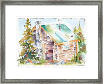 Storm Mountain Cabin Framed Print by Pat Katz