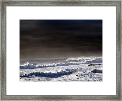 Storm Moving Out To Sea Framed Print by Anastasia Pleasant